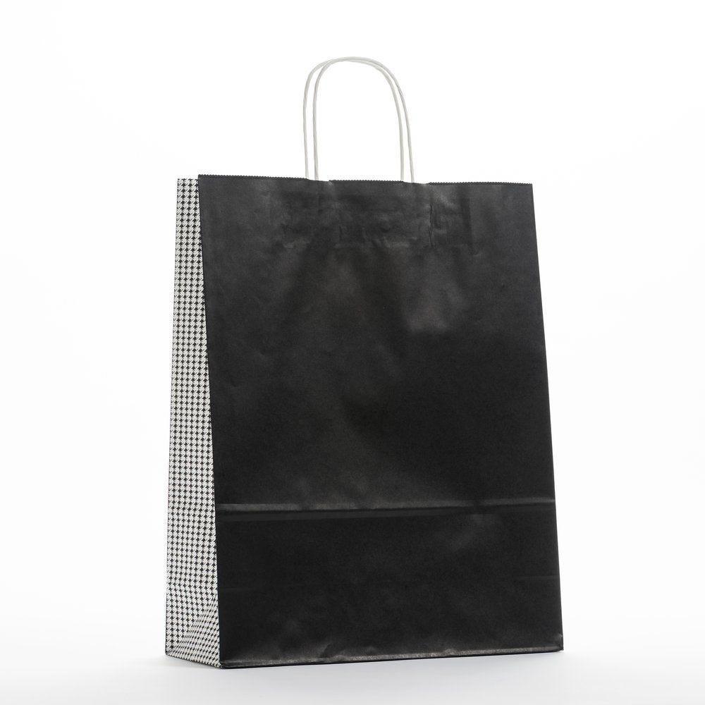 Sac kraft parigi noir et gris poignées torsadées 32xP13x41cm - par 50 (photo)