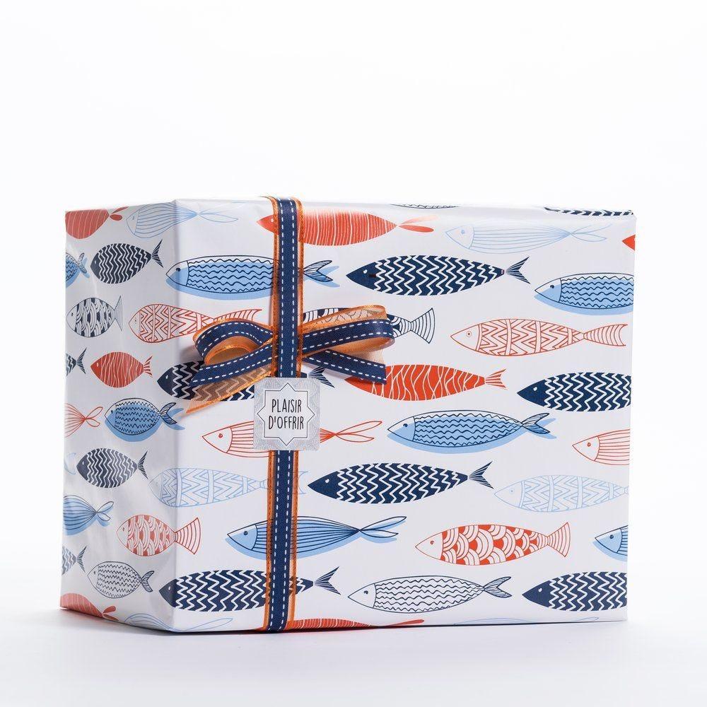 Papier cadeau poissons en 0,70 x 50 m (photo)