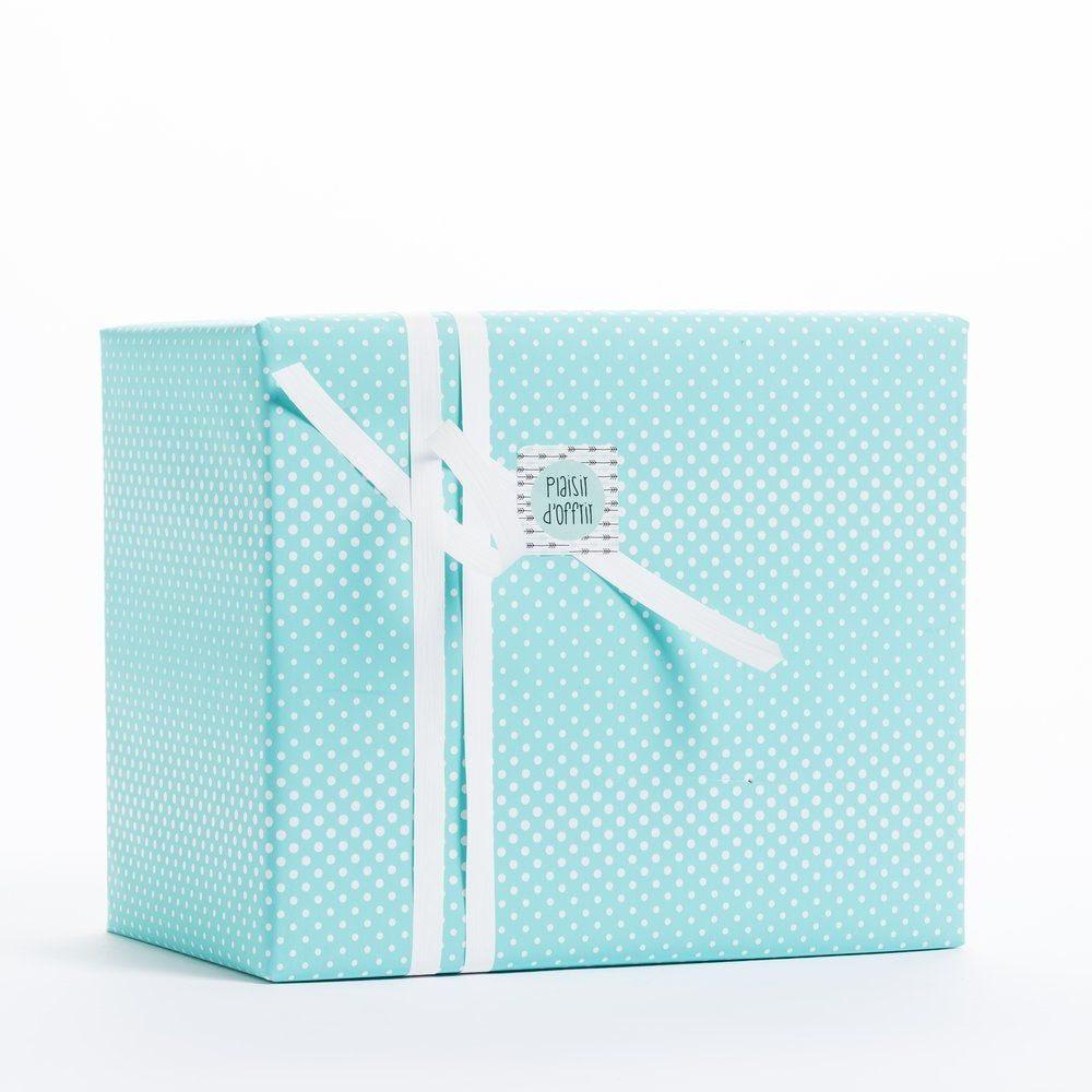 Papier cadeau vert d'eau et pois blancs en 0.70 x 100 m (photo)