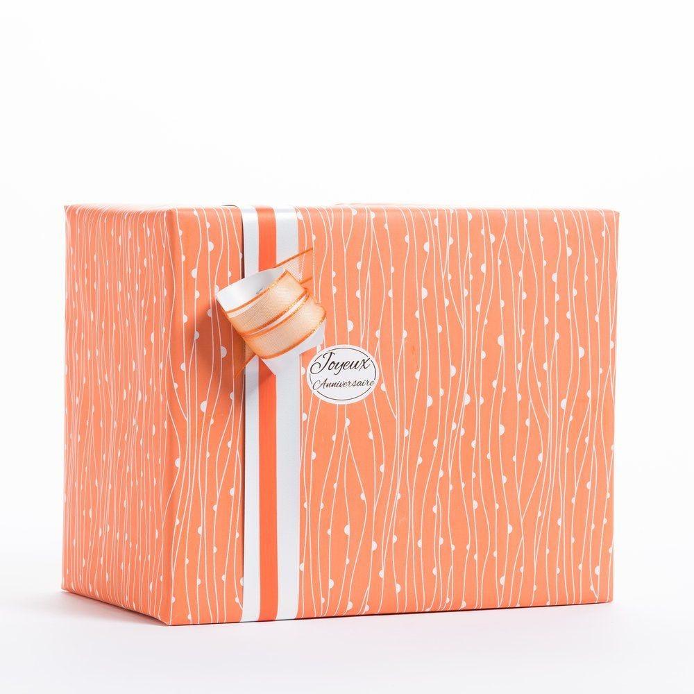 Papier cadeau corail et lignes blanches en 0.70 x 100 m (photo)