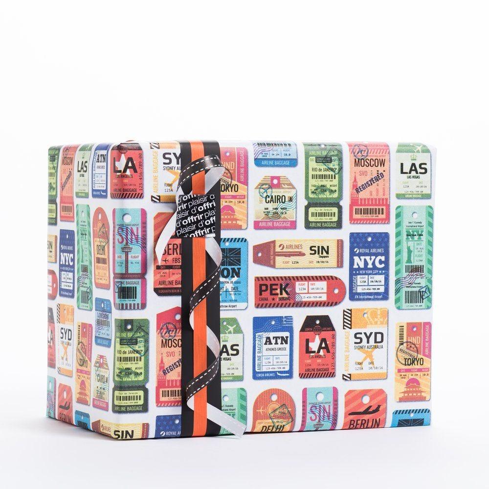 Papier cadeau étiquettes de voyage en 0.70 x 100 m (photo)