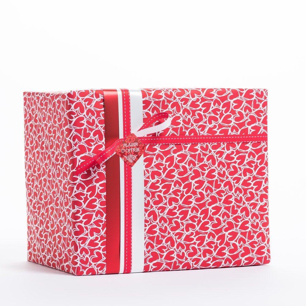 Papier cadeau coeurs rouges contour blanc en 0.70x50 m (photo)