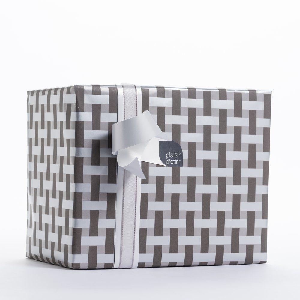 Papier cadeau croisillon noir et gris en 0,70x100 m (photo)
