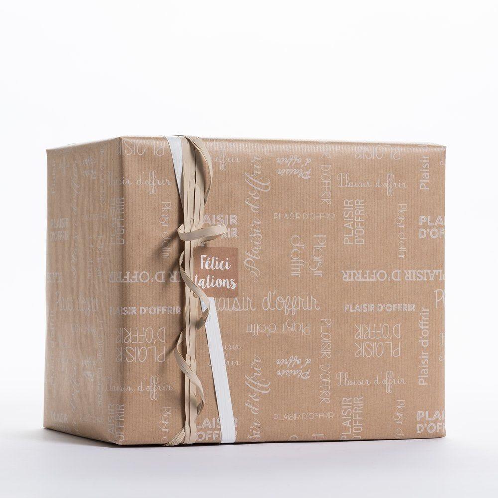 Papier cadeau kraft Plaisir d'offrir 0,70x100 m (photo)