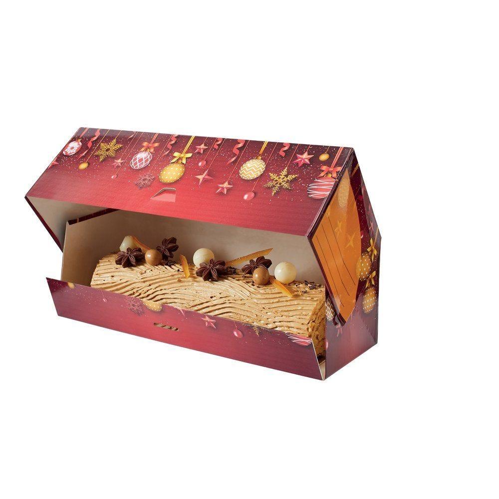 Boîte à bûche décor Flocons Or 20x11x10cm - par 25 (photo)