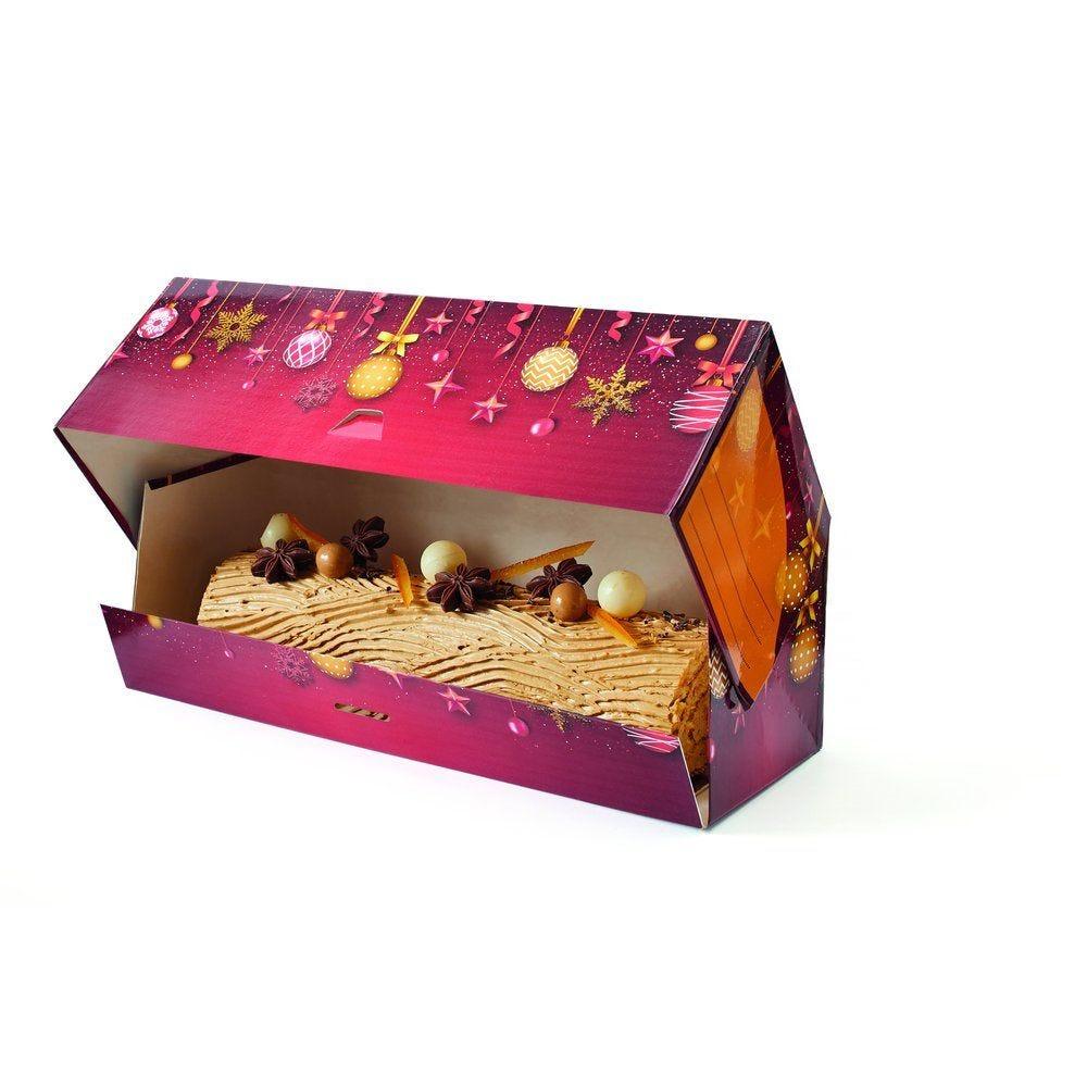 Boîte à bûche décor Flocons Or 25x11x10,5cm - par 25 (photo)