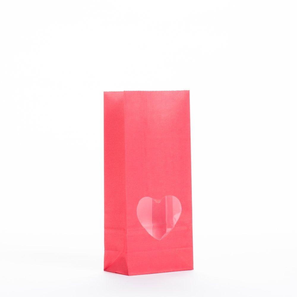 Sac SOS rouge à fenêtre découpe coeur 9x5x20cm - par 100 (photo)