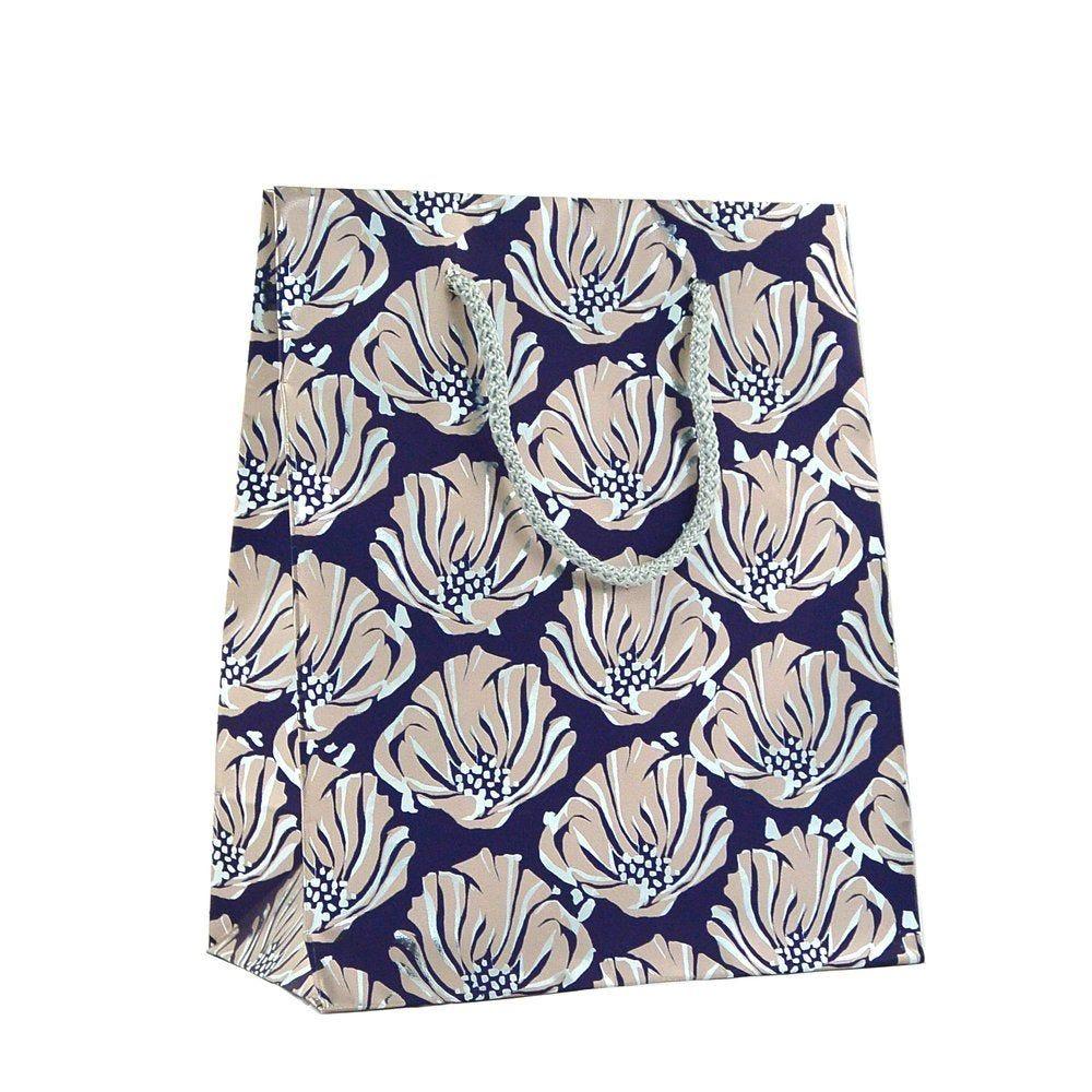 Sacs luxe fleurs violet 19x10x23cm - par 12