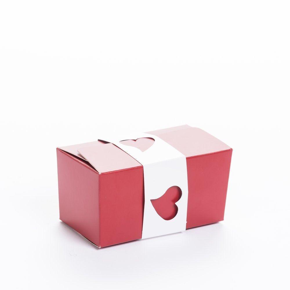 Fourreaux coeur blanc pour ballotins 250g - par 50 (photo)