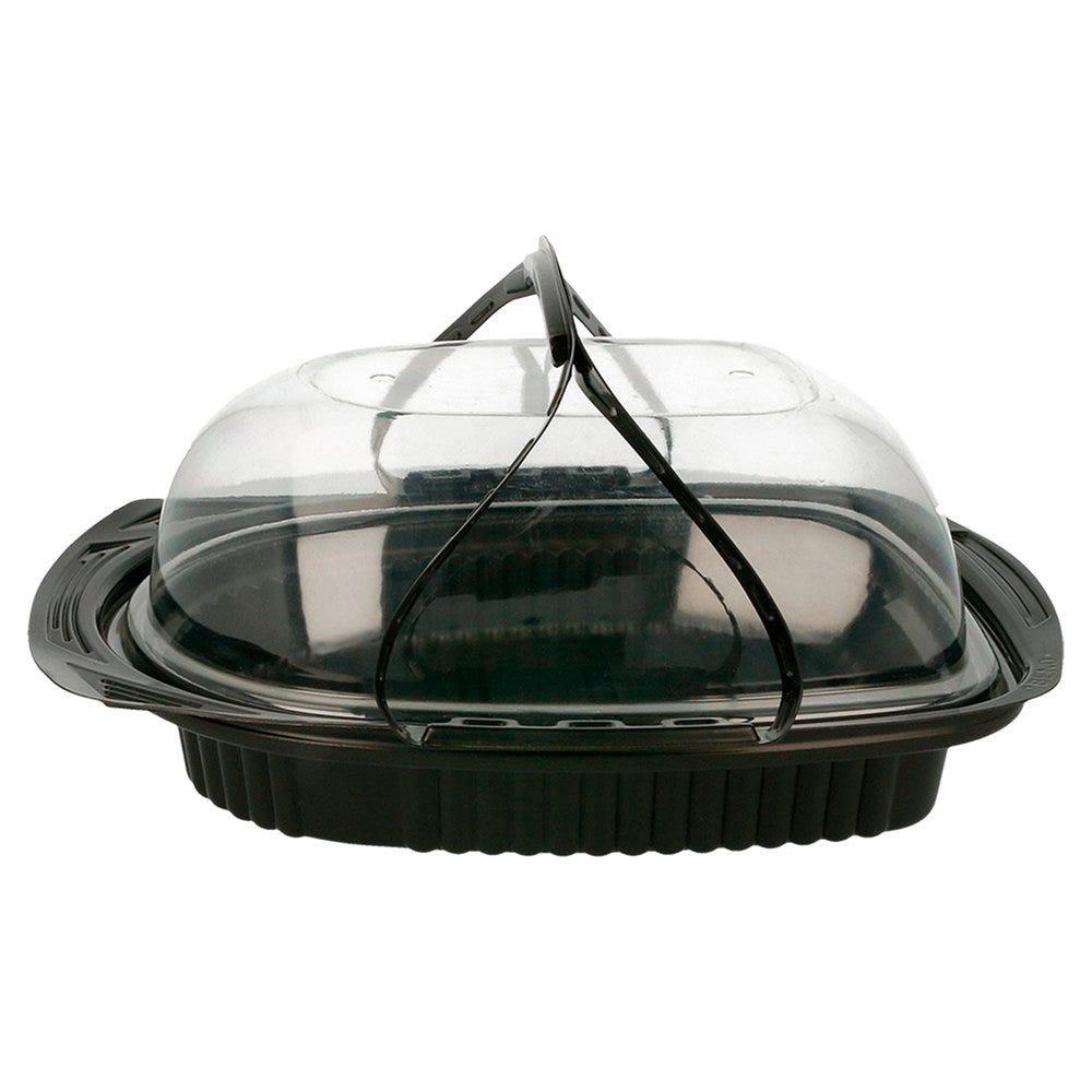 Boîte pour poulet grillé fond noir et poignées PP 22x16,5x11,2cm - par 150