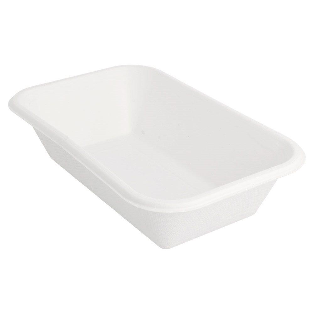 Barquette bagasse blanche 950cc 21,5x14x5,2cm - par 600