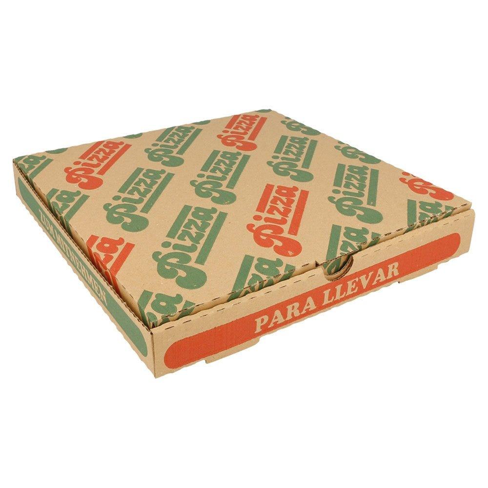 Boîte pizza carton brun imprimé vert et rouge 24x24x3cm - par 100