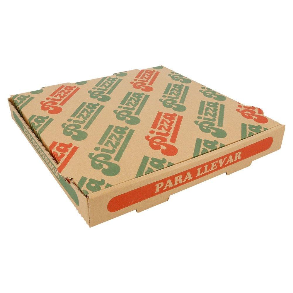Boîte pizza carton brun imprimé vert et rouge 26x26x3,5cm - par 100