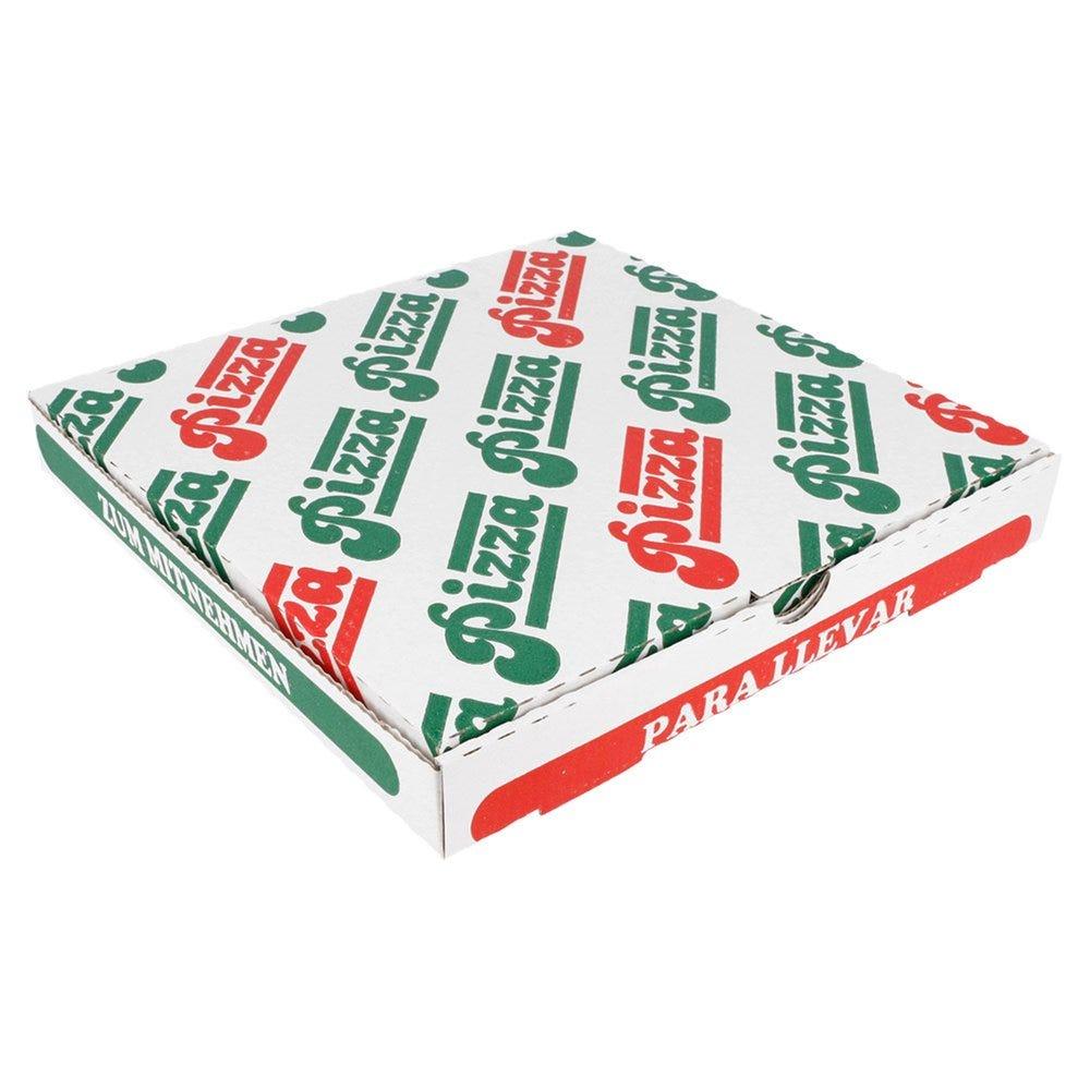 Boîte pizza carton blanc imprimé vert et rouge 24x24x3cm - par 100