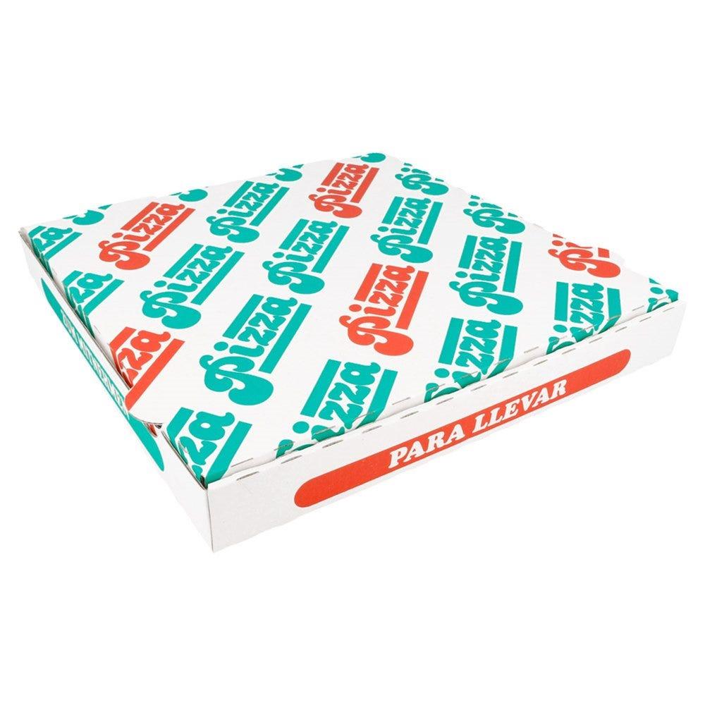 Boîte pizza carton blanc imprimé vert et rouge 29x29x3cm - par 100
