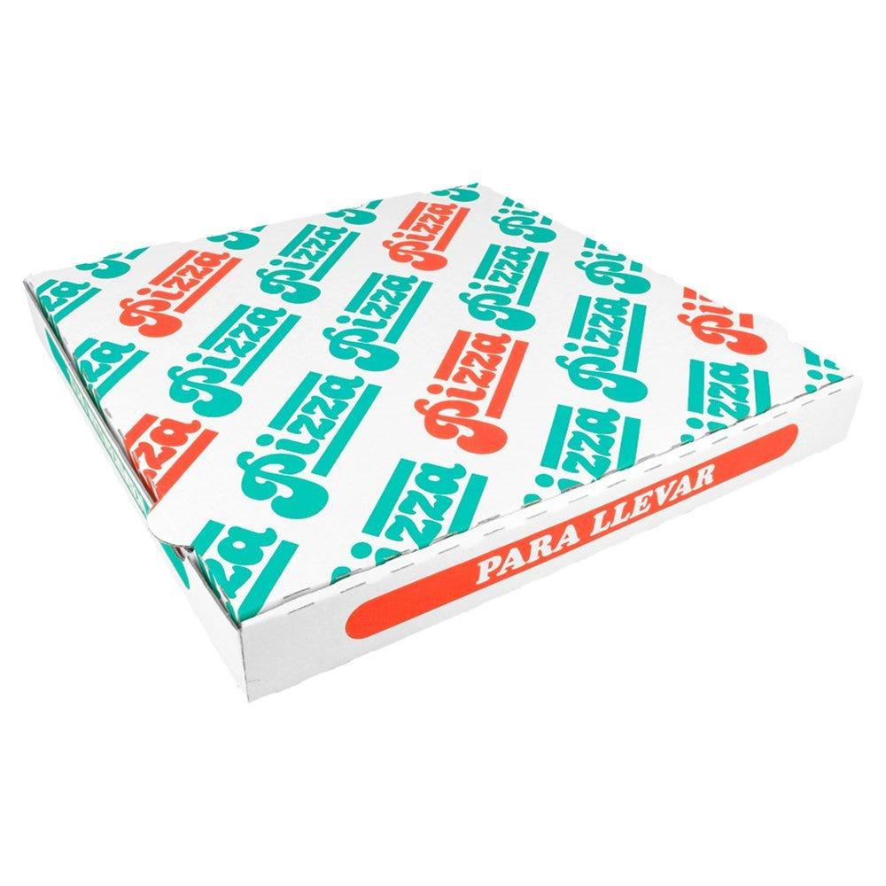 Boîte pizza carton blanc imprimé vert et rouge 32x32x3,5cm - par 100
