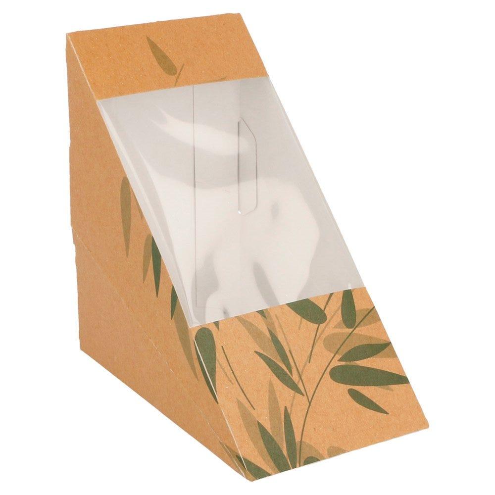 Boîte 2 sandwiches triangulaire à fenêtre Feel Green 12,4x12,4x7,3cm - par 100