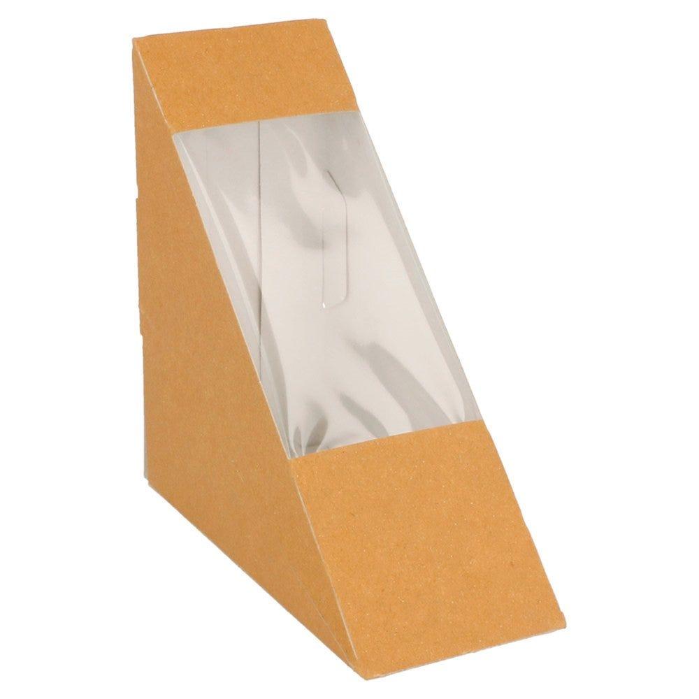 Boîte 1 sandwich triangulaire à fenêtre Kraft 12,4x12,4x5,5cm - par 100