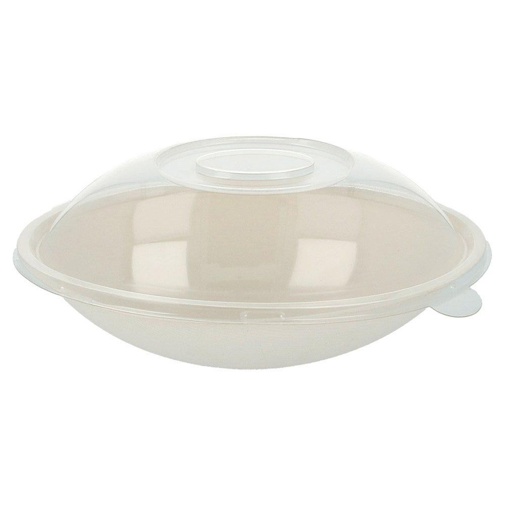 Bol ovale bagasse blanche+couvercle 22x13,5x5,5+4,5cm - par 100