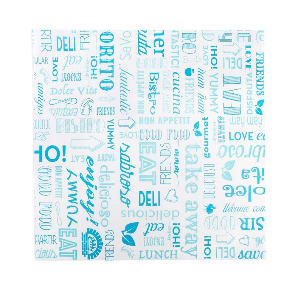 Feuille ingraissable pour burger Parole bleu 31x31cm - par 4000