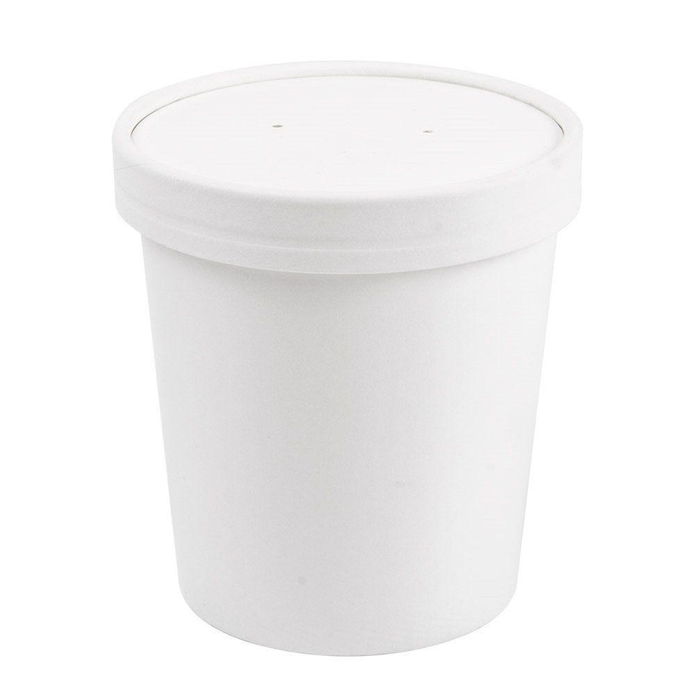 Pot à soupe + couvercle en carton blanc 480ml Ø9,5/7,5x10cm - par 250
