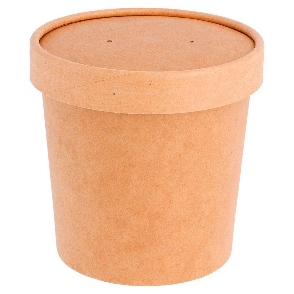 Gobelet à soupe avec couvercle carton brun 360ml - par 250