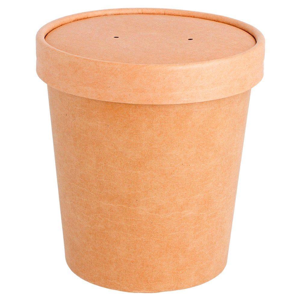 Gobelet à soupe avec couvercle carton brun 480ml - par 250