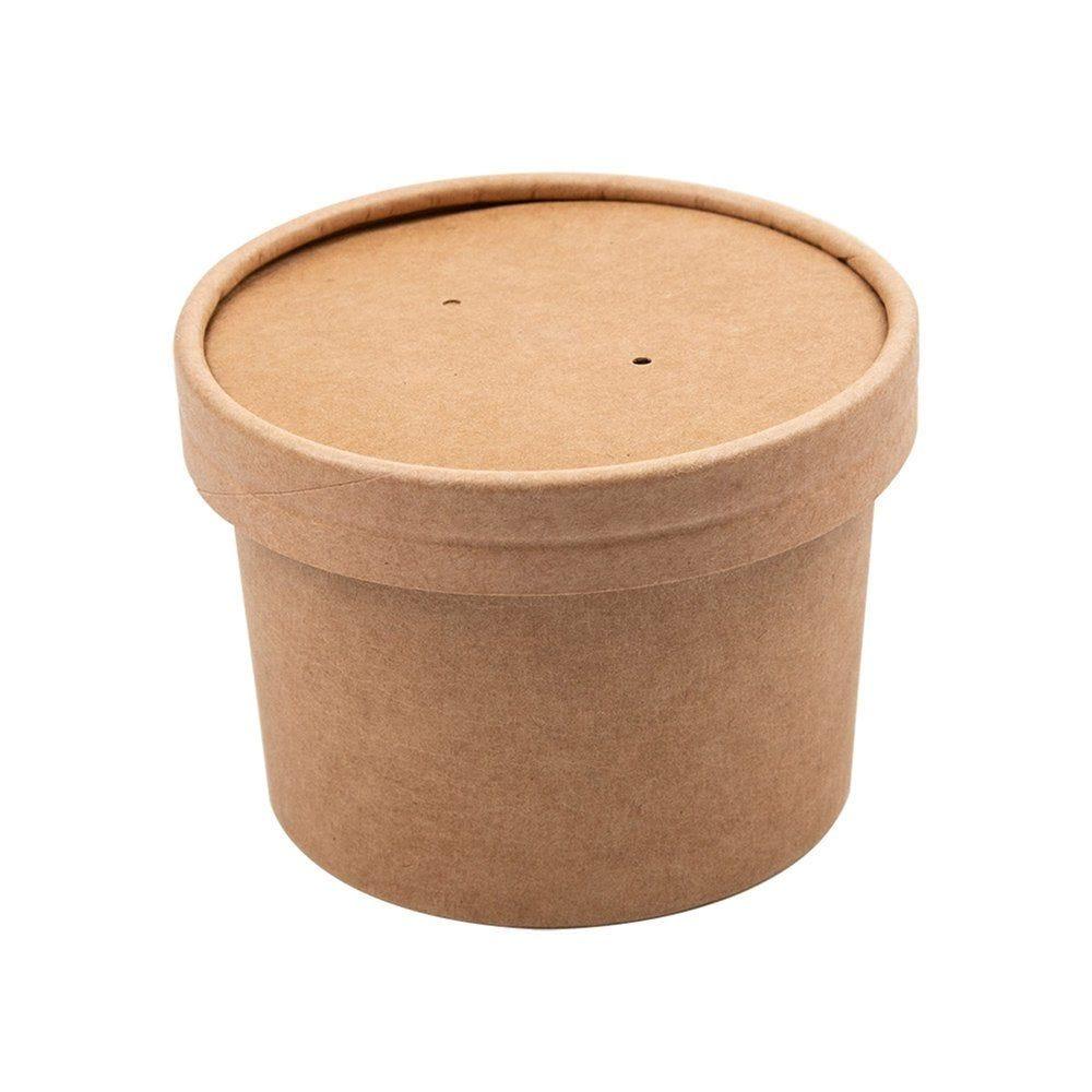 Gobelet à soupe avec couvercle carton brun 240ml - par 250