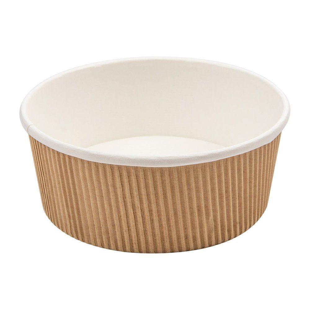 Pot à soupe double paroi carton ondulé brun intérieur blanc 780ml - par 250