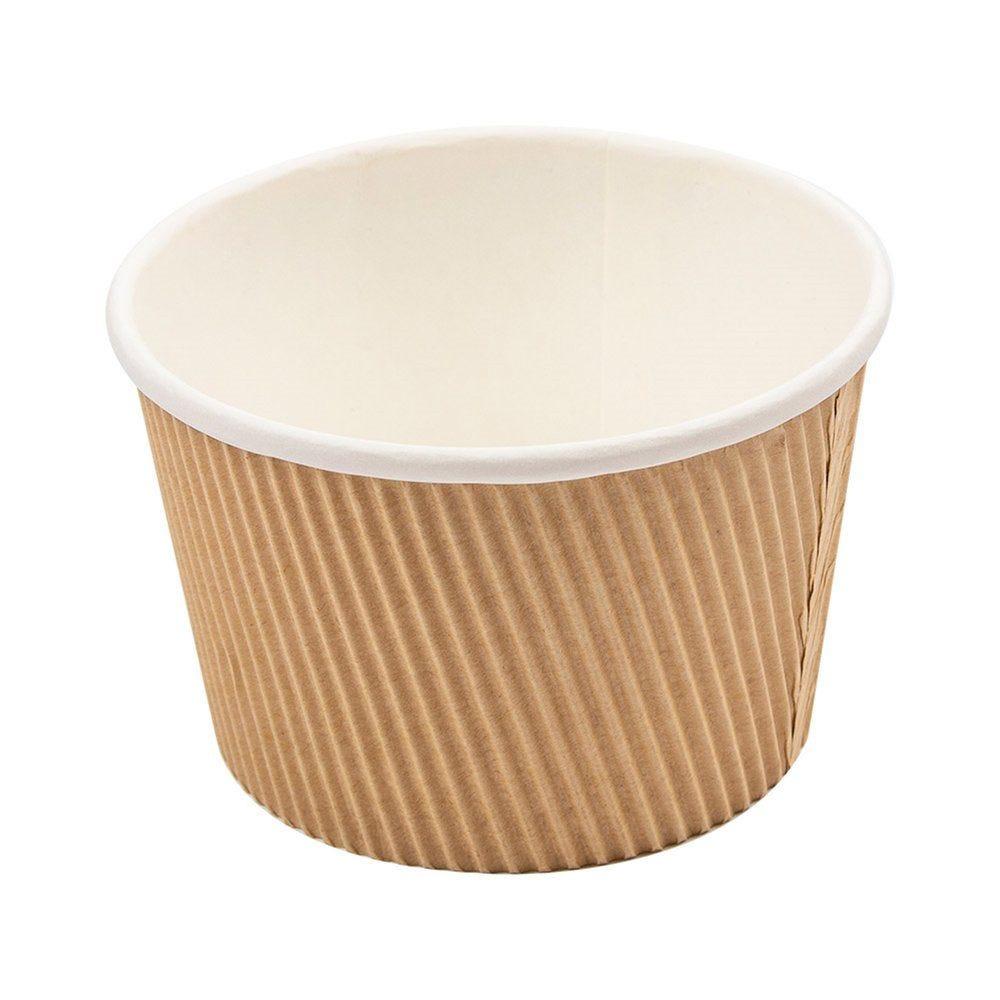 Pot à soupe double paroi carton ondulé brun intérieur blanc 500ml - par 250