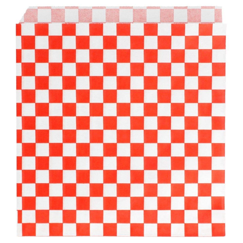 Sachet papier ingraissable Damier rouge 2 côtés ouverts 16x16,5cm - par 500