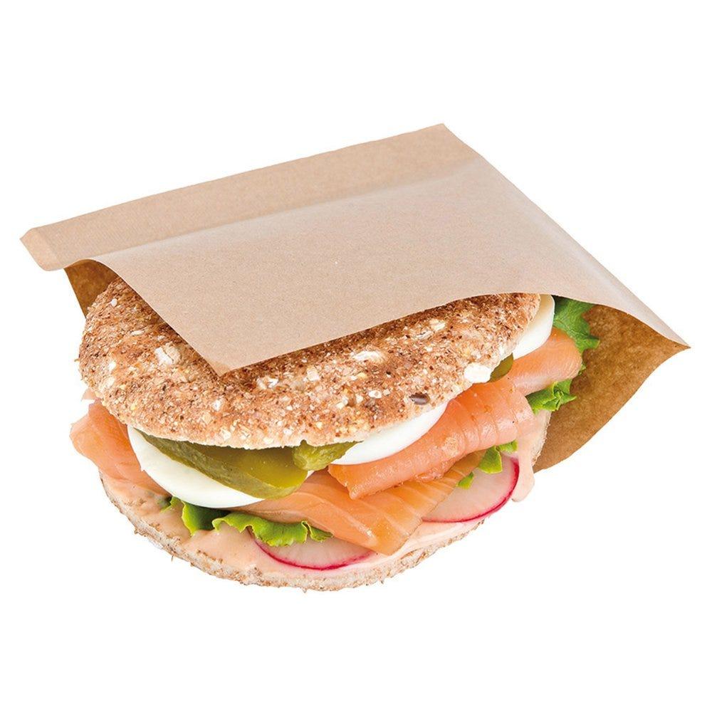 Sachet papier laminé Kraft 2 côtés ouverts 15x15,2cm - par 100