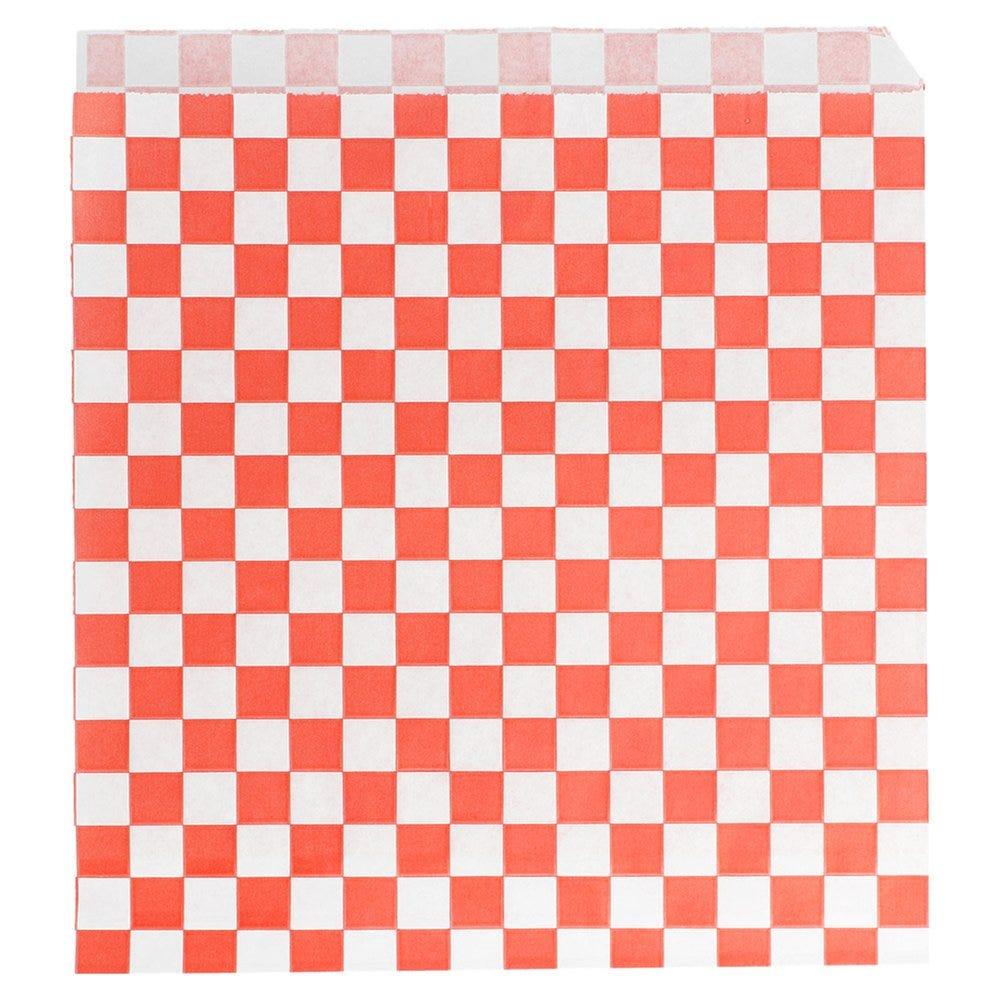 Sachet papier ingraissable Damier rouge 2 côtés ouverts 17x18cm - par 500