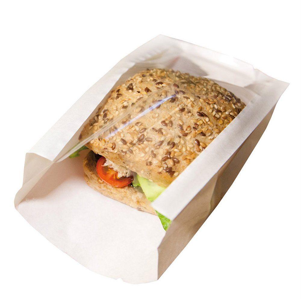Sac sandwich à fenêtre blanc 14x9+5x17 cm - par 100