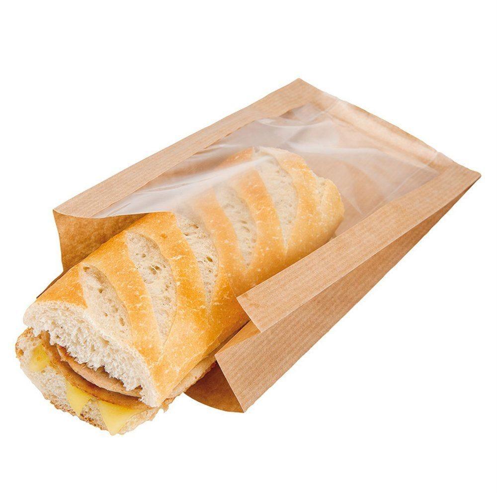 Sac sandwich à fenêtre naturel 16x11+5x21 cm - par 100