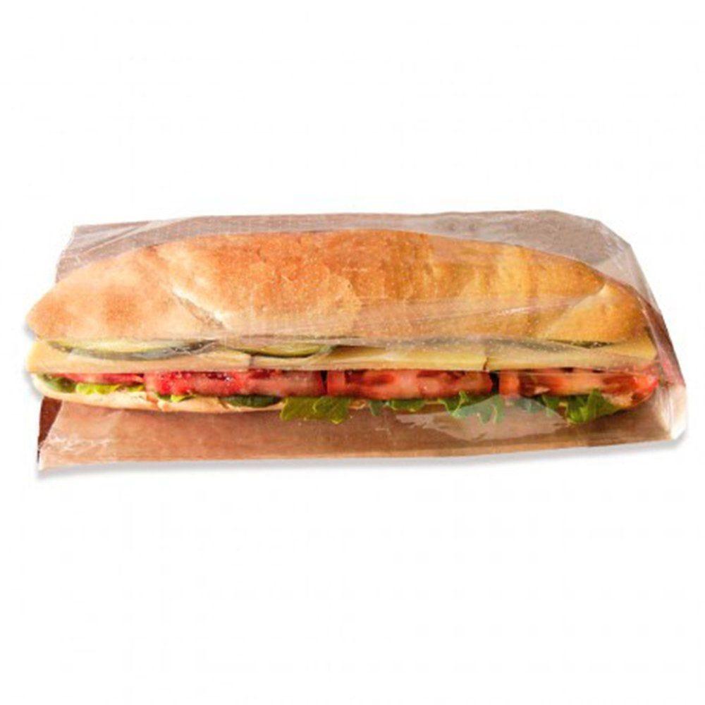 Sac sandwich à fenêtre kraft 9+6x23 cm - par 250
