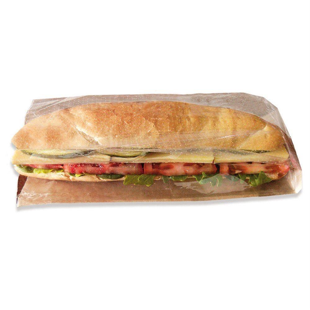 Sac sandwich à fenêtre kraft 14+6x23 cm - par 250