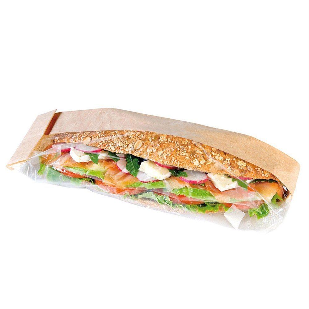 Sac sandwich à large fenêtre de côté kraft 9+5,5x38 cm - par 250