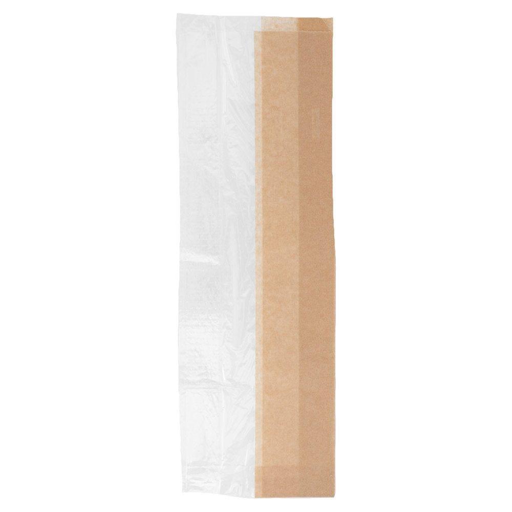 Sac sandwich à large fenêtre de côté kraft 14+8x38 cm - par 250