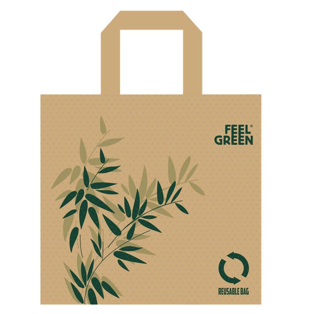 Sac réutilisable intissé Feel green 45+20x40cm - par 50