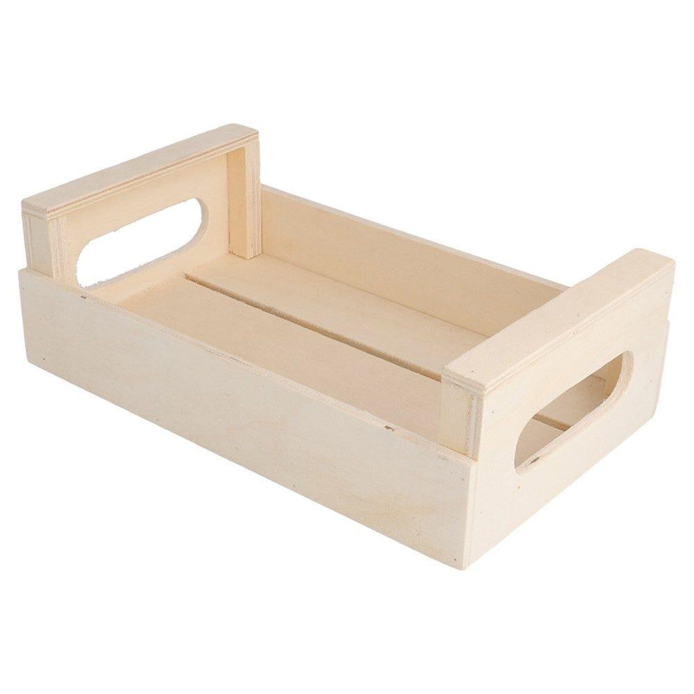 Cagette de présentation à poignées en bois 20,5x12,5x6,5cm - par 20