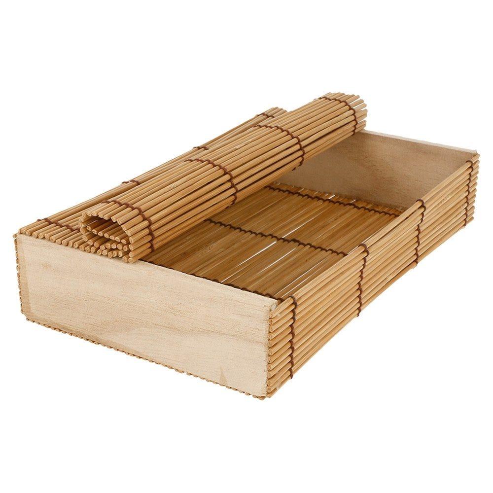Boîte de présentation sushis en bambou 21x13x4,5cm - par 24 (photo)