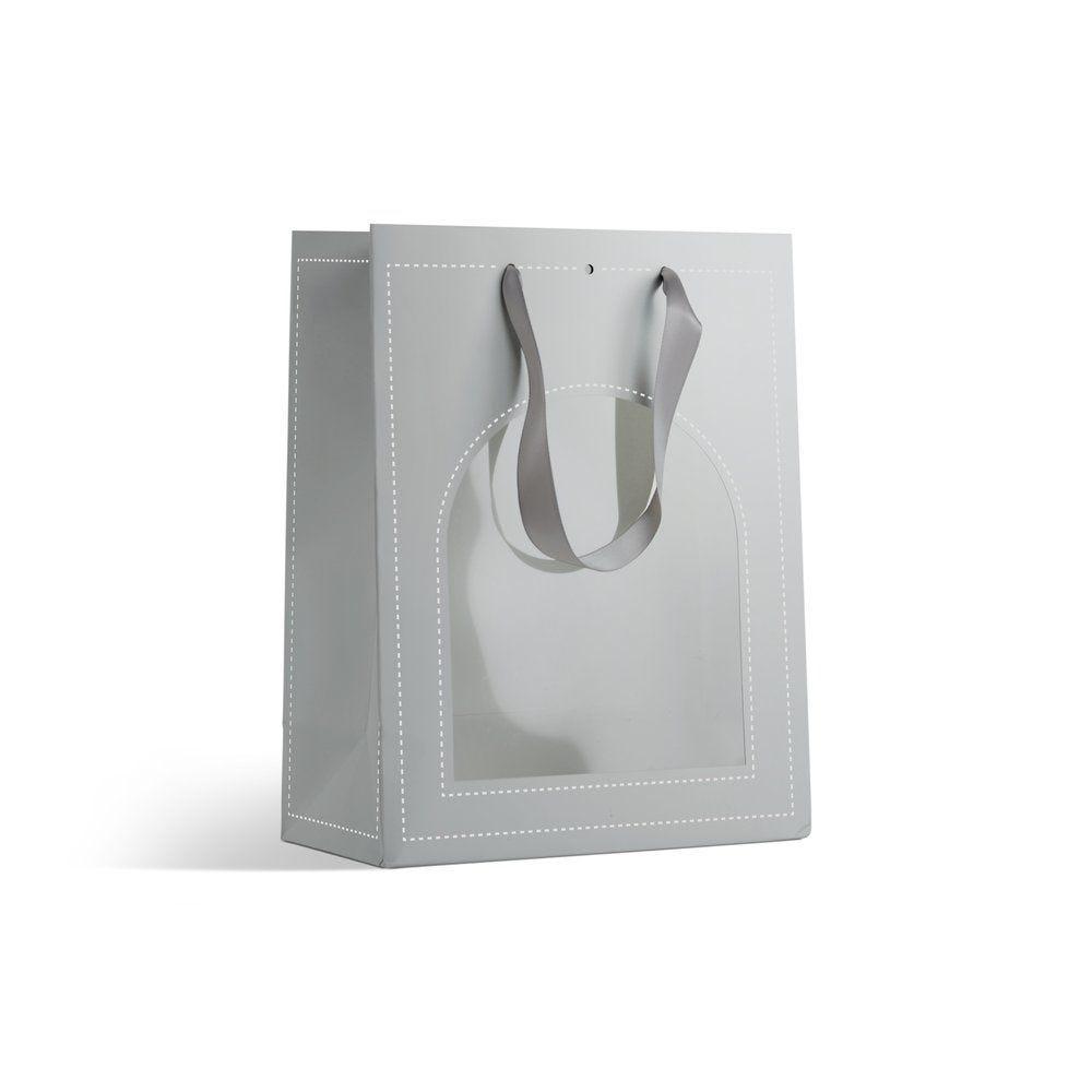 Sac à fenêtre argent  L 22 + P 11 x H 28cm - par 10