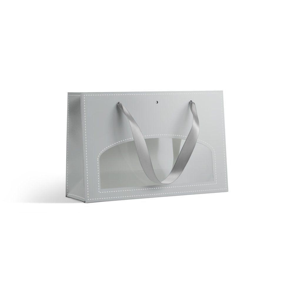 Sac à fenêtre argent L 28 + P 8 x H 18 cm - par 10