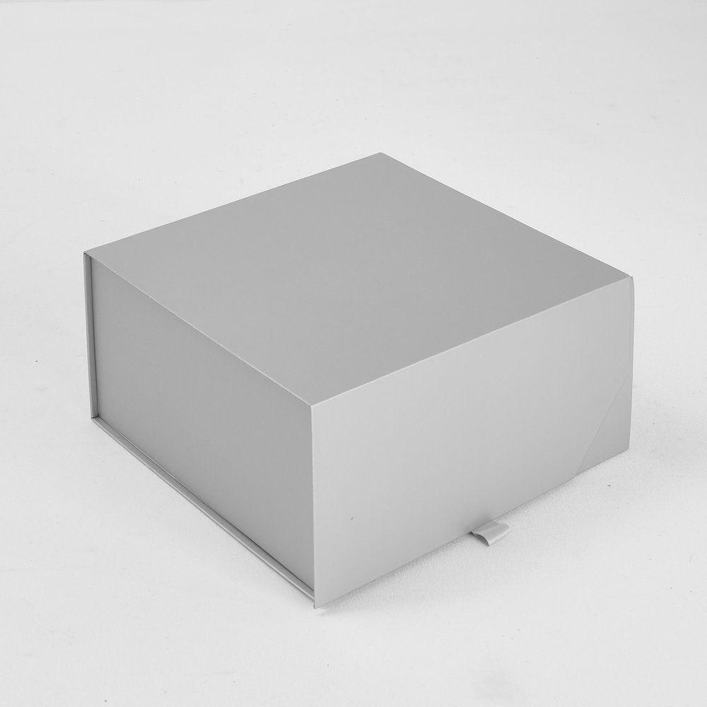 Boite cadeau aimantée argent mat L 21 X P 21 X H 10cm - par 5