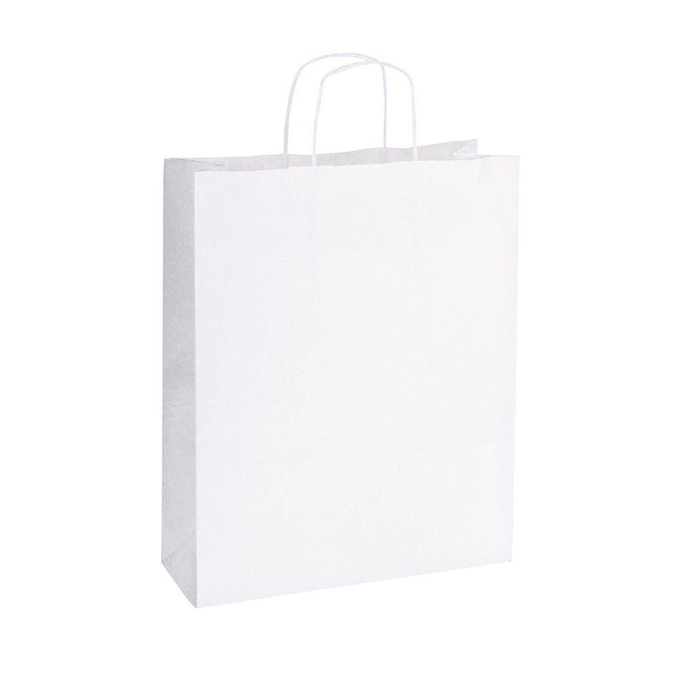 Sac kraft poignées torsadées blanc 16x7x21,5cm - par 50