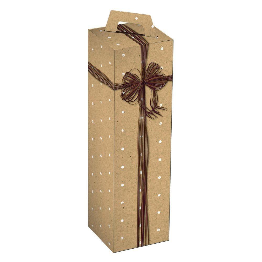 Boîte 1 bouteille kraft/pois blancs  9x9x33cm - par 10