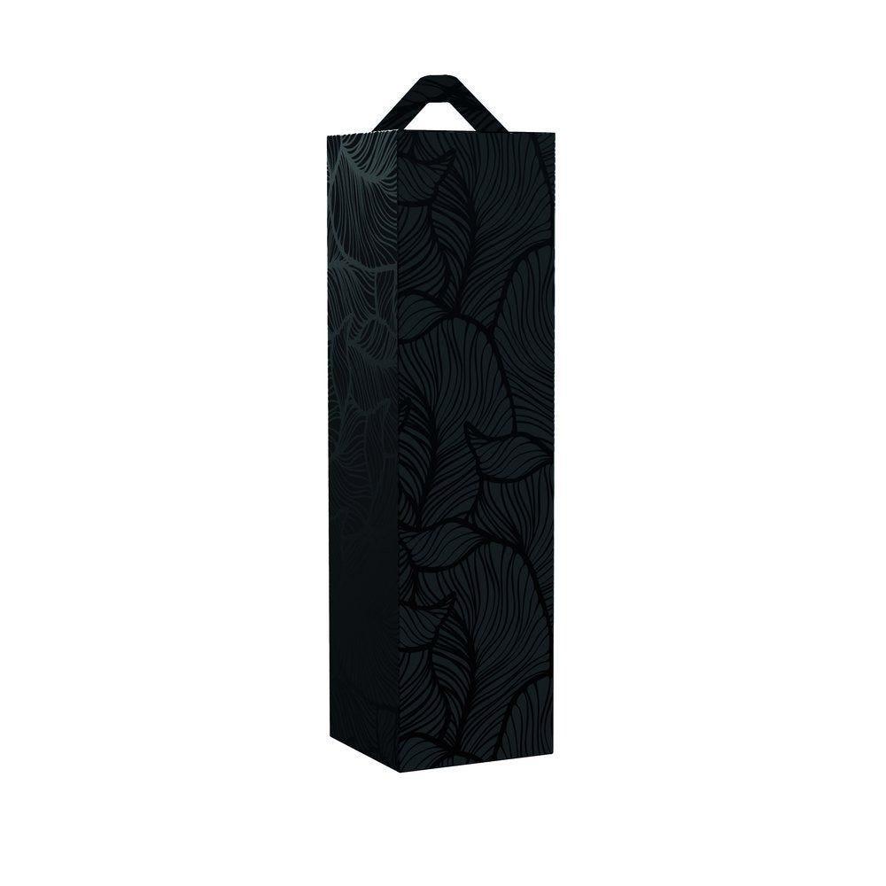 Boîte 1 bouteille feillage noir  9x9x33cm - par 10