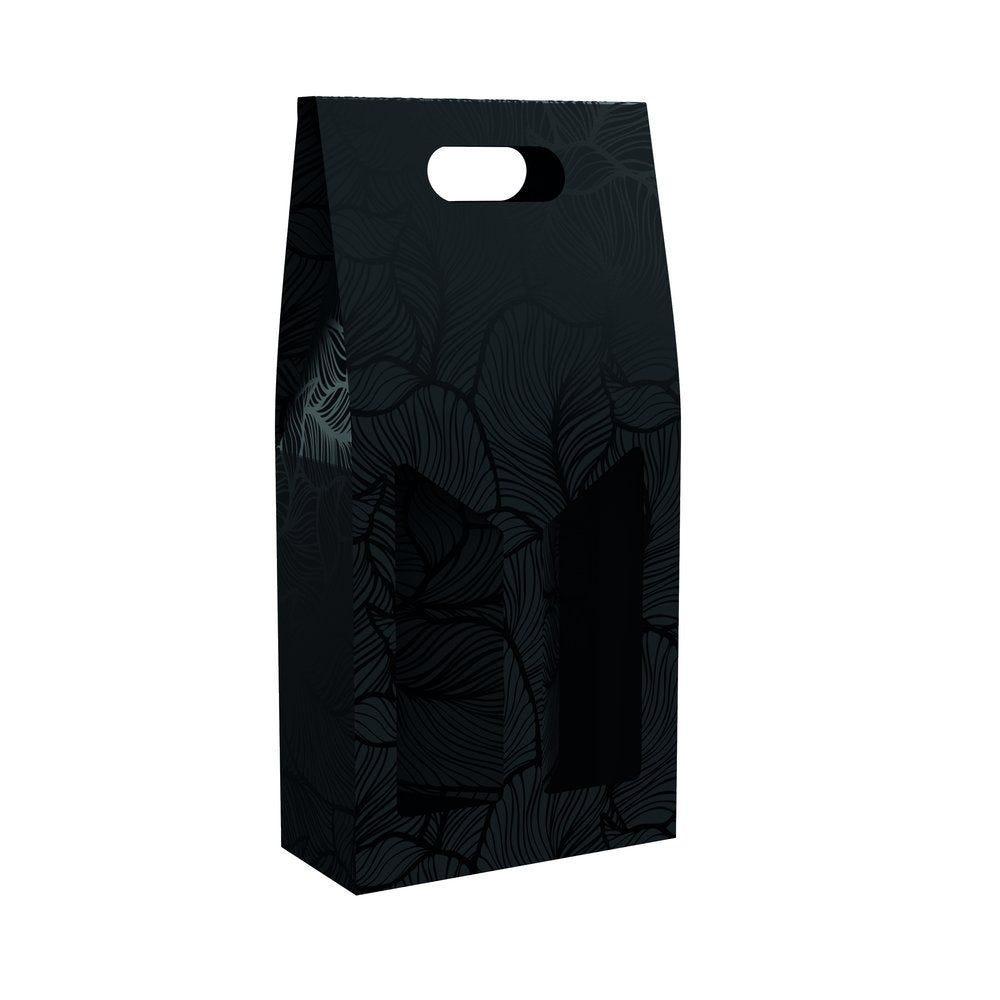 Boîte 2 bouteilles feuillage noir  18x9x40cm - par 10