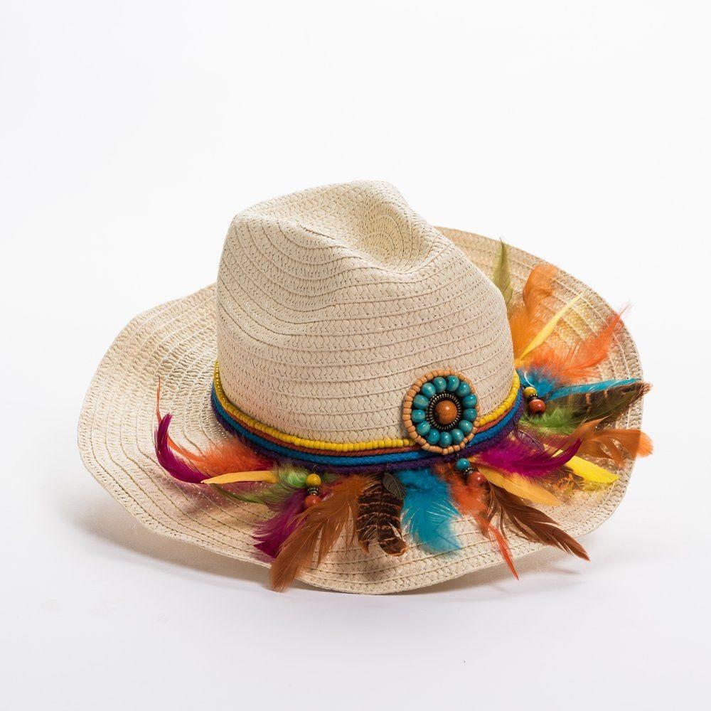 Chapeau  plumes multicolores en L 35 x P 35  x H 15 cm (photo)